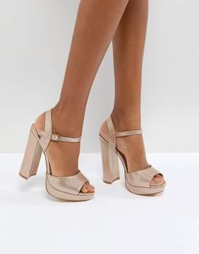Office Hunk Rose Gold Sparkle Platform Sandals