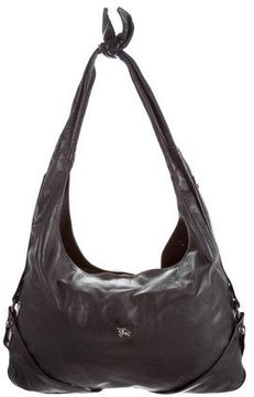 Burberry Large Leather Hobo - BLACK - STYLE