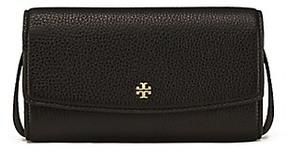 Tory Burch Robinson Pebbled Mini Flap Wallet Cross-Body - BLACK - STYLE
