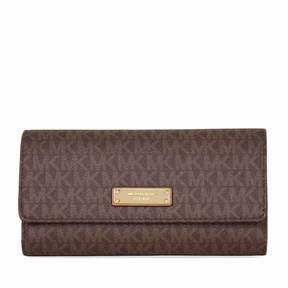 Michael Kors Jet Set PVC Checkbook Wallet - Brown - BROWNS - STYLE