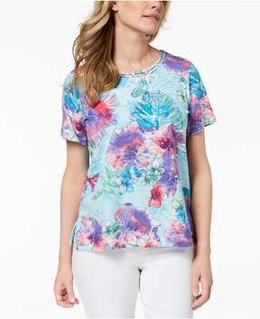Alfred Dunner Floral-Print Embellished Top