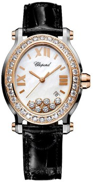 Chopard Happy Sport Floating Diamonds 18 kt Rose Gold Bezel Ladies Watch