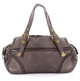 Bottega Veneta Pre-owned: Buckle Zip Satchel Leather With Intrecciato Detail Medium.