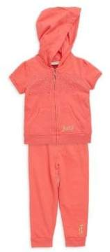 Juicy Couture Baby's Two-Piece Lace-Insert Hoodie and Pants Set