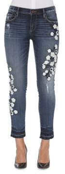Driftwood Floral Embossed Cropped Jeans