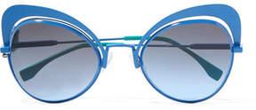 Fendi Butterfly-frame Metal Sunglasses - Blue