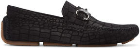 Jimmy Choo Black Croc-Embossed Brogan Loafers