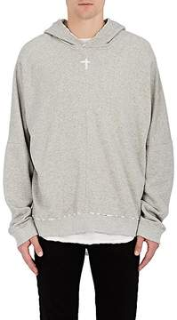 RtA Men's Sloth-Embroidered Distressed Cotton Hoodie