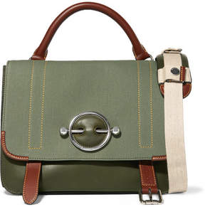 J.W.Anderson Disc Lace-up Leather And Canvas Shoulder Bag - Green