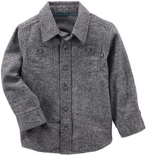 Osh Kosh Toddler Boy Gray Button Flannel Shirt
