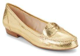 Louise et Cie Bitsy Snake-Embossed Metallic Leather Loafers