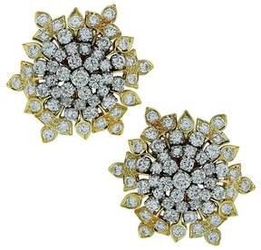 David Webb Platinum & 18K Yellow Gold Diamond Earrings