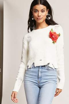 Forever 21 Distressed Floral Sweater
