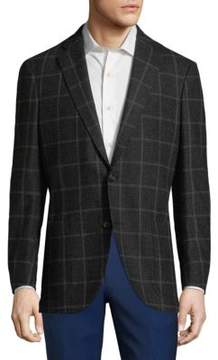 Luciano Barbera Plaid Wool Sports Sportcoat