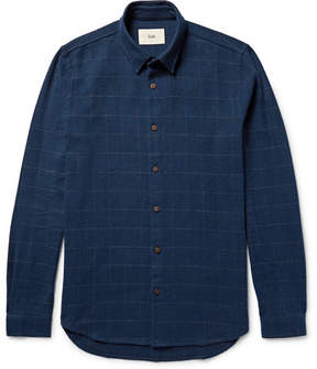 Folk Slim-Fit Windowpane-Checked Slub Cotton-Twill Shirt