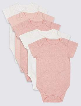 Marks and Spencer 5 Pack Flat Seams Pure Cotton Bodysuits