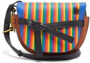 Loewe Gate Marquetry Striped Leather Cross Body Bag - Womens - Multi