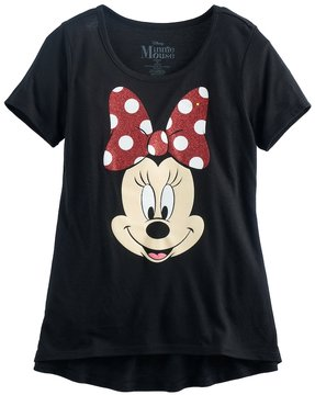 Disney Disney's Minnie Mouse Girls 7-16 Big Face Glitter Graphic Tee