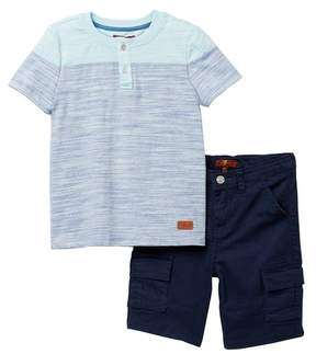 7 For All Mankind Crew Tee & Cargo Shorts Set (Toddler Boys)