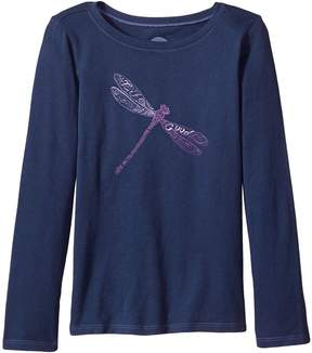 Life is Good Dragonfly Pattern Long Sleeve Crusher Tee Girl's T Shirt