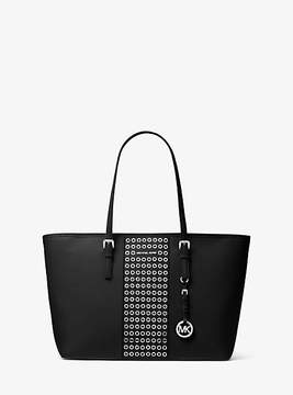 Michael Kors Jet Set Travel Grommeted Saffiano Leather Tote - BLACK - STYLE