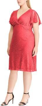 Chaps Plus Size Lace Flutter Sleeve Empire Dress