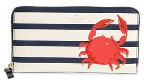 Kate Spade Shore Thing - Crab Embellished Leather Wallet - RED - STYLE