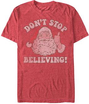 Fifth Sun Heather Red 'Don't Stop Believing!' Santa Tee - Men's Regular