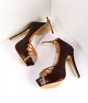 Unique Vintage Retro Style Dark Brown & Maple Leatherette Peep Toe Platform Cutout Pumps Shoes