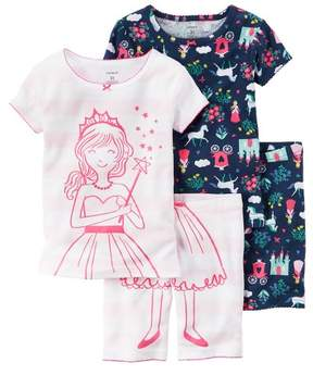 Carter's Girls Fairytale 4-Piece Colorful Cotton PJs