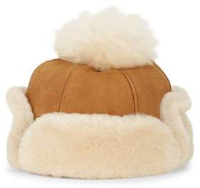 UGG Dyed Shearling-Trimmed Leather Hat