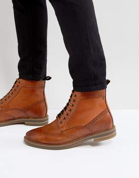 Base London Hurst Leather Brogue Boots In Tan