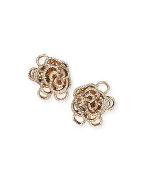 Jose & Maria Barrera Crystal Flower Clip-On Earrings