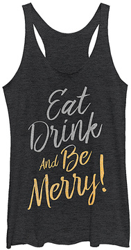 Fifth Sun Black Heather 'Eat Drink and Be Merry' Racerback Tank