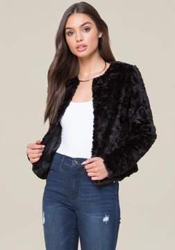 Bebe Rosette Faux Fur Jacket