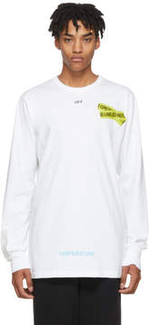 Off-White White Long Sleeve Firetape T-Shirt