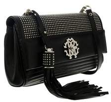 Roberto Cavalli Black Quilted Studded Leather Small Shoulder Bag