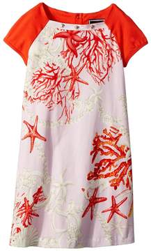 Versace Kids Short Sleeve Dress Starfish Print Girl's Dress