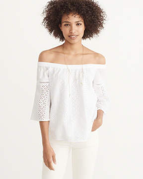 Abercrombie & Fitch Off-The-Shoulder Eyelet Top
