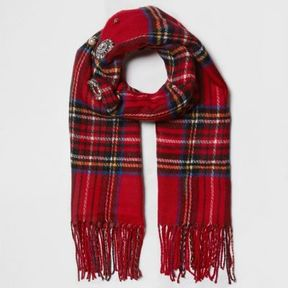 River Island Womens Red plaid check brooch embellished scarf