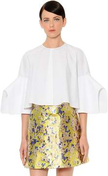 DELPOZO Flared & Cropped Cotton Poplin Blouse