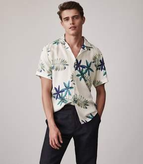 Reiss Fiji Cuban Collar Printed Shirt