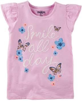 Osh Kosh Oshkosh Bgosh Girls 4-12 Smile All Day Butterfly & Flower Graphic Tee