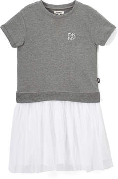 DKNY Heather Gray & White Drop-Waist Dress - Infant, Toddler & Girls
