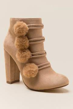 XOXO Yolandra Faux Fur Puff Ankle Boot - Beige
