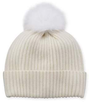 Sofia Cashmere Sequin Knit Hat w/ Fur Pompom, Ivory