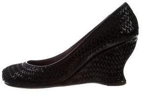 Bottega Veneta Round-Toe Patent Leather Wedges