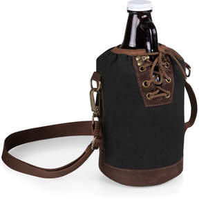 Picnic Time Black & Brown Insulated Growler Tote & Amber Glass Growler