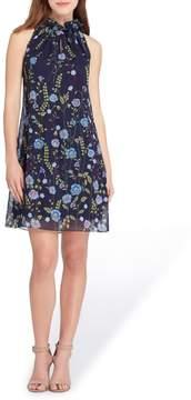 Tahari Embroidered Chiffon Shift Dress