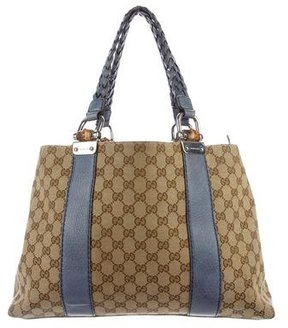 Gucci Medium Bamboo Bar Tote - BLUE - STYLE